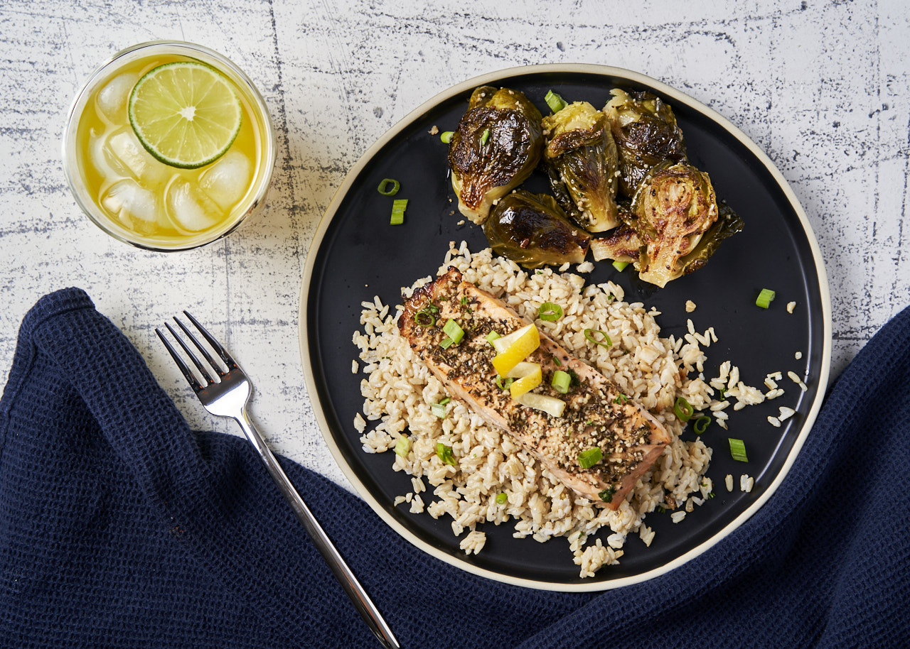 Lemony Herb Baked Salmon with Brown Rice & Brussels Sprouts