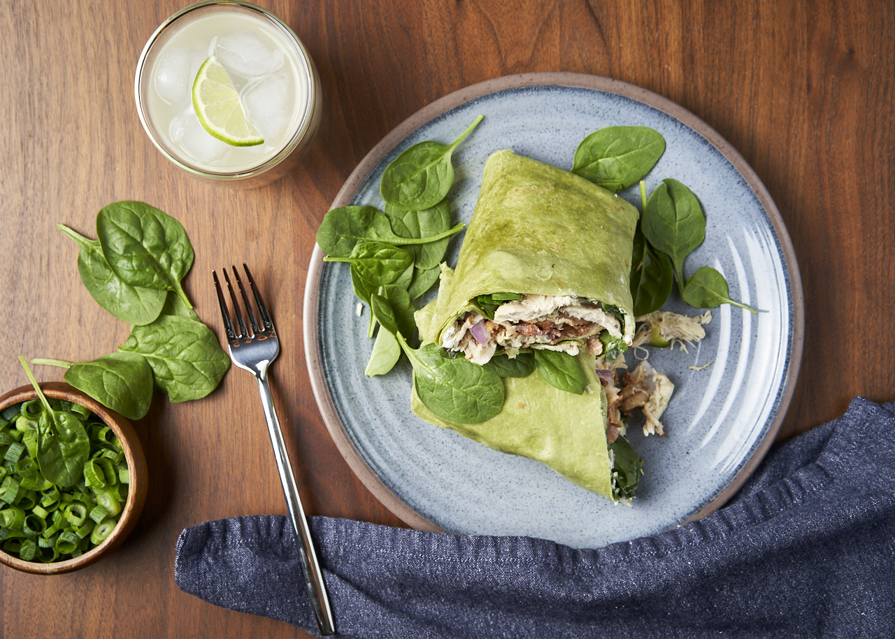 Chicken & Bacon Spinach Wrap with Sweet & Spicy Spread