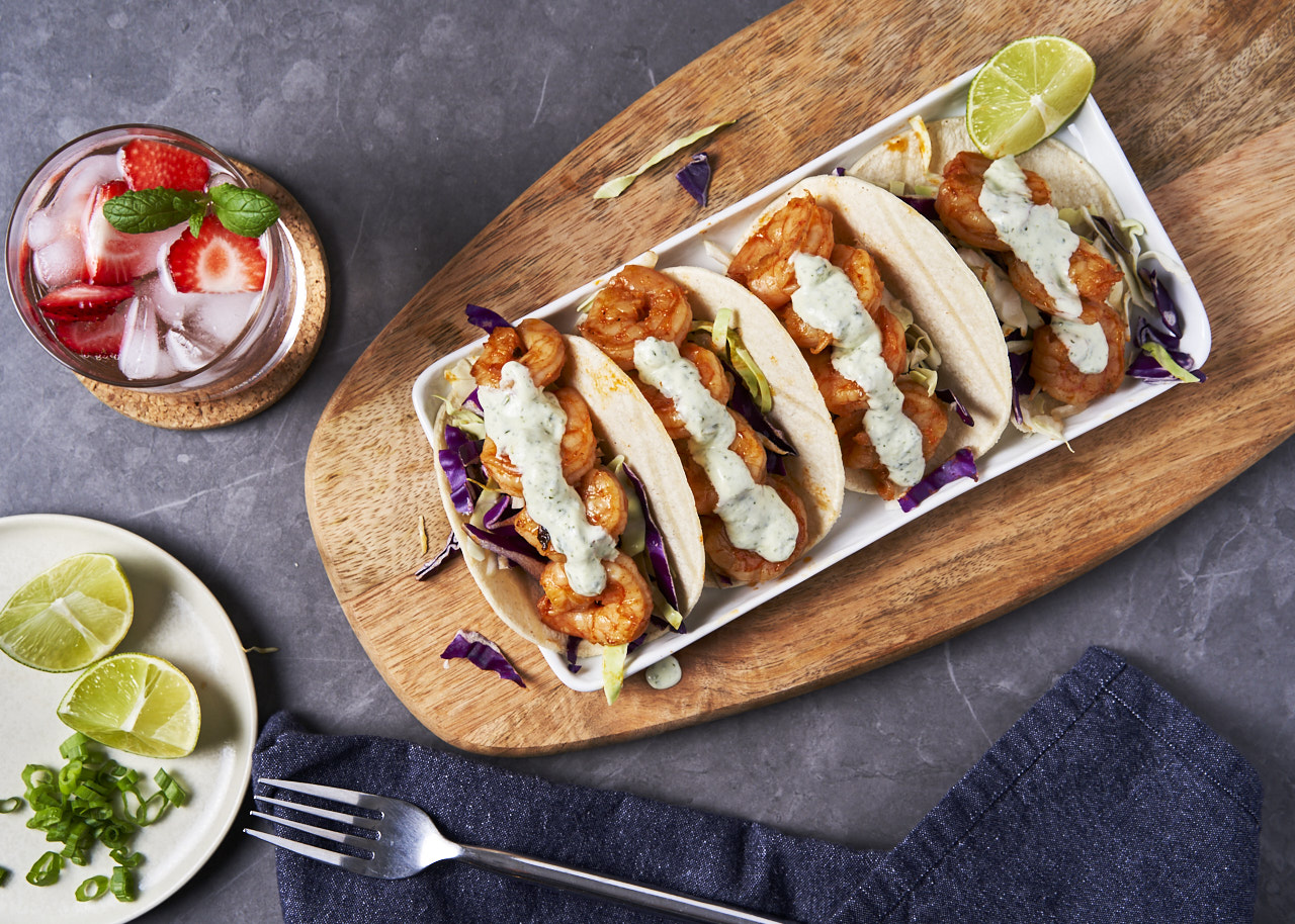 Blackened Shrimp Tacos with Cilantro Lime Sauce