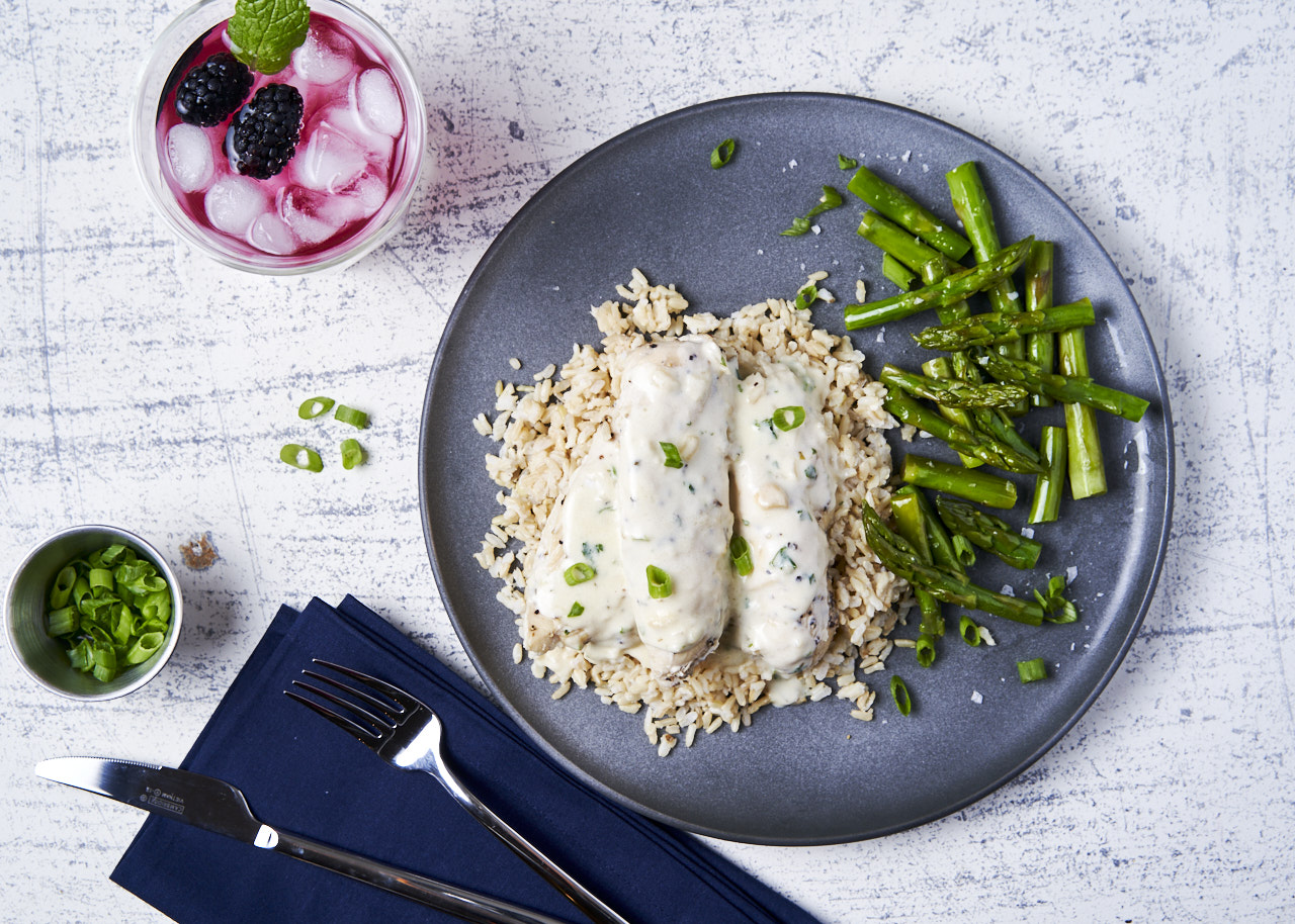 Tarragon Chicken with Brown Rice & Asparagus